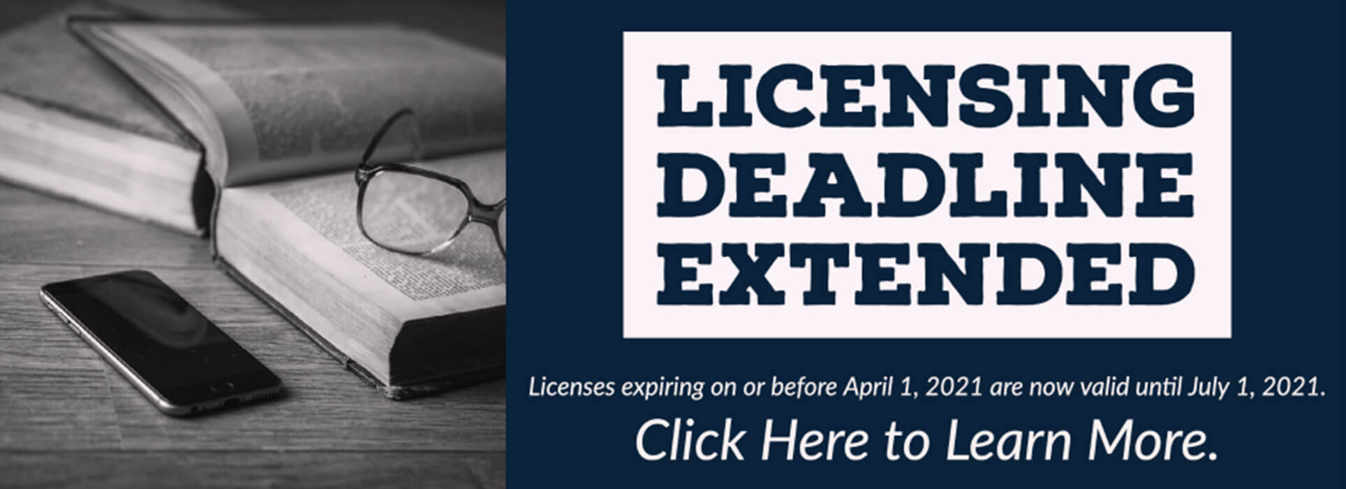 Licensing Deadline Extended to July first for those with licences expiring before April 1